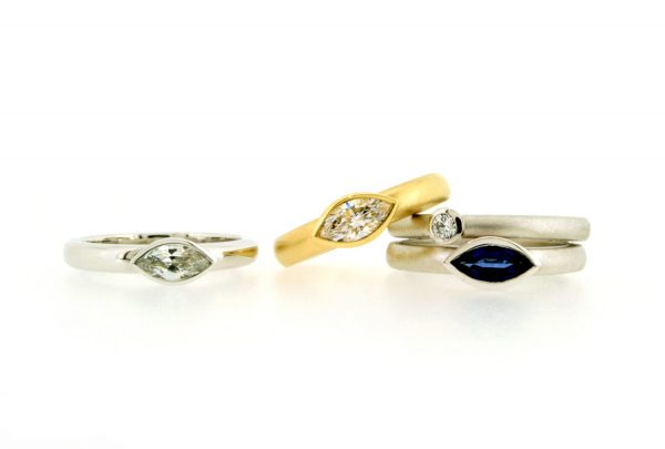 Marquise Diamond & Sapphire Platinum & 18ct Gold Rings by Robert Feather Jewellery