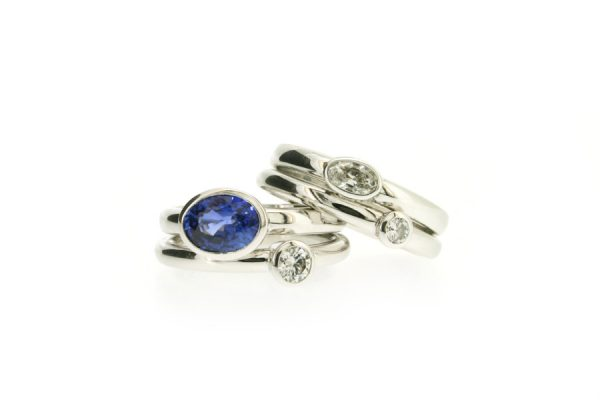 Two Stone Oval Sapphire & Diamond 18ct White Gold Rings by Robert Feather Jewellery