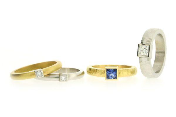 Princess Cut Diamond & Sapphire Platinum & 18ct Gold Rings by Robert Feather Jewellery