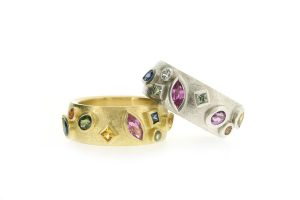 Mixed Shaped Coloured Sapphire 18ct Gold & Silver Rings by Robert Feather Jewellery