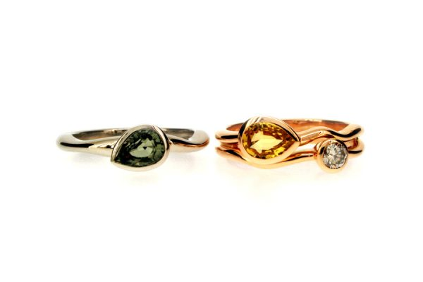 Pear Green Sapphire Platinum & Pear Yellow Sapphire & Diamond 18ct Red Gold Rings by Robert Feather Jewellery