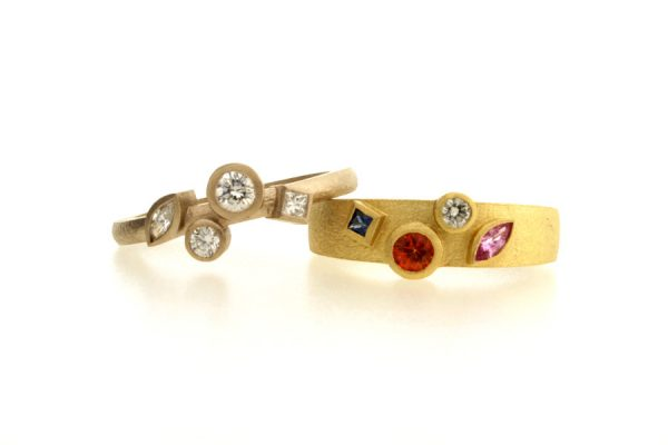 Mixed Stone Shaped Diamond & Sapphire 18ct Gold Rings by Robert Feather Jewellery