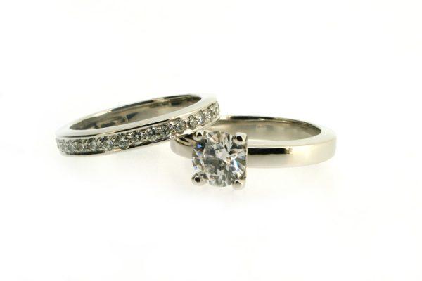 Round Brilliant Cut Diamond Platinum Engagement & Diamond Set Wedding Rings by Robert Feather Jewellery