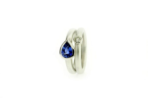 Pear Sapphire & Diamond 18ct White Gold Ring by Robert Feather Jewellery
