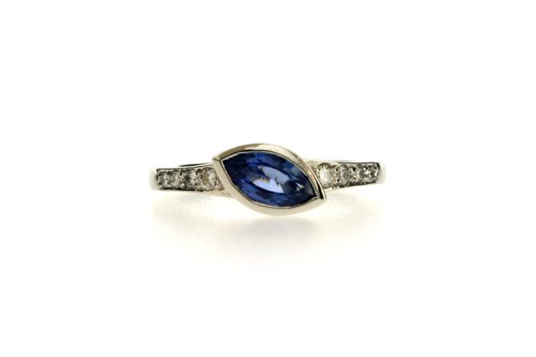 Marquise Cut Sapphire & Diamond Platinum Engagement Ring by Robert Feather Jewellery