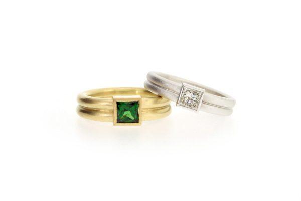 Princess Cut Tsavorite & Diamond 18ct Gold Rings by Robert Feather Jewellery
