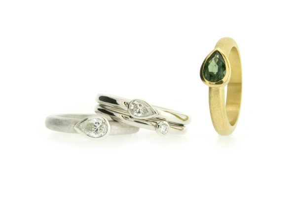 Pear Shaped Diamond & Sapphire Rings by Robert Feather Jewellery
