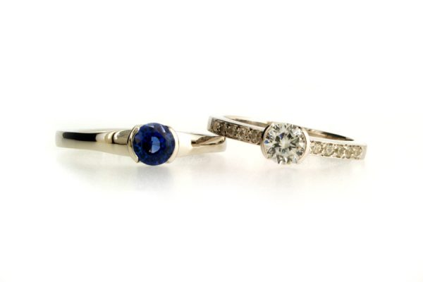 Round Sapphire & Brilliant Cut Diamond Platinum Rings by Robert Feather Jewellery