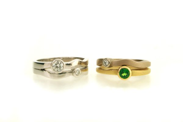 Platinum Diamond Multiwave & Tsavorite & Diamond 18ct White & Yellow Gold Rings by Robert Feather Jewellery