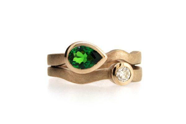 Pear Tsavorite & Brilliant Cut Diamond 18ct White Gold Ring by Robert Feather Jewellery