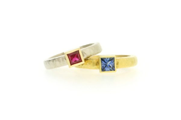 Princess Cut Ruby & Sapphire 18ct Gold Rings with Hammered Finishes by Robert Feather Jewellery