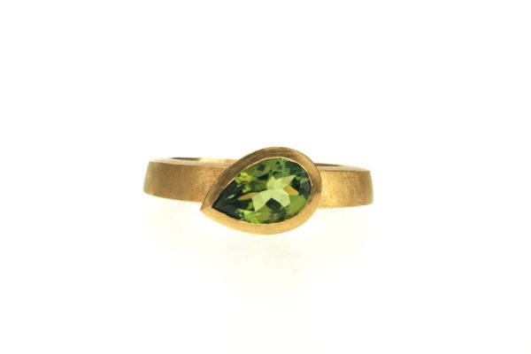 Pear Green Tourmaline 18ct Yellow Gold Ring : Robert Feather Jewellery