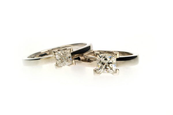 Princess Cut Diamond Platinum Engagement Rings by Robert Feather Jewellery