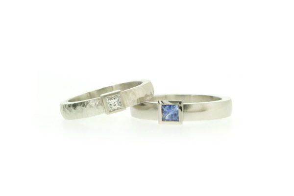 Princess Cut Diamond & Sapphire Platinum & Palladium Rings by Robert Feather Jewellery