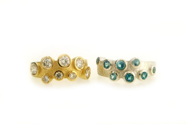 Diamond Set 18ct Yellow Gold & Blue Topaz Silver Rings by Robert Feather Jewellery