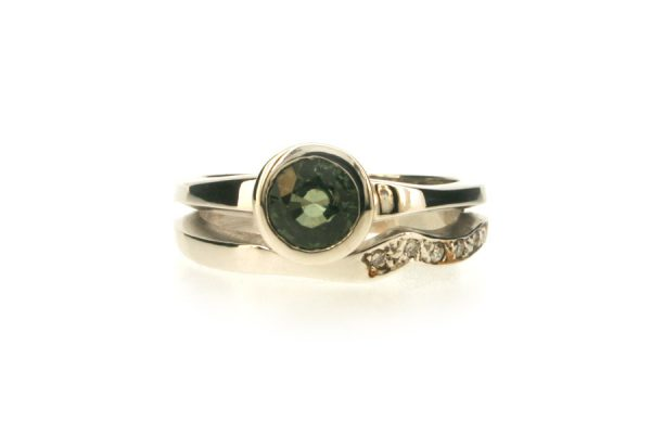 Round Green Sapphire & Diamond Set 18ct White Gold Ring by Robert Feather Jewellery
