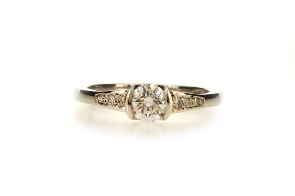 Round Brilliant Cut Diamond Platinum Ring with Diamond Set Shoulders by Robert Feather Jewellery