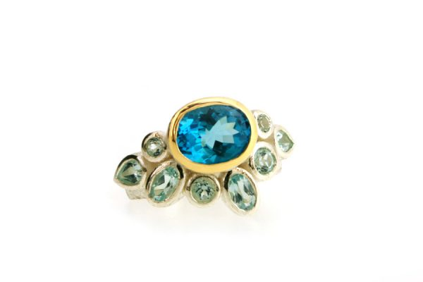 Oval Blue Topaz & Mixed Stone Silver & 18ct Gold Ring by Robert Feather Jewellery
