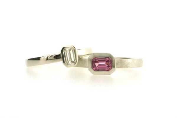 Emerald Cut Diamond Platinum & Emerald Cut Pink Sapphire 18ct White Gold Rings by Robert Feather Jewellery