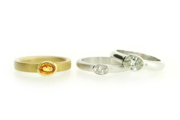 Oval Sapphire & Diamond 18ct Gold & Platinum Engagement Rings by Robert Feather Jewellery