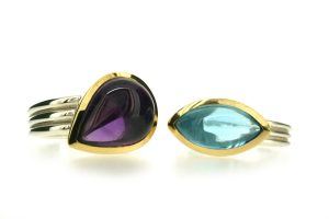 Pear Amethyst & Marquise Cut Blue Topaz Silver & 18ct Gold Rings by Robert Feather Jewellery