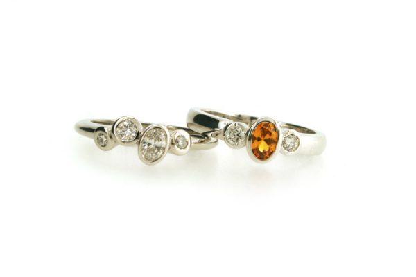 Mixed Diamond Platinum & Yellow Sapphire 18ct White Gold Rings : Robert Feather Jewellery