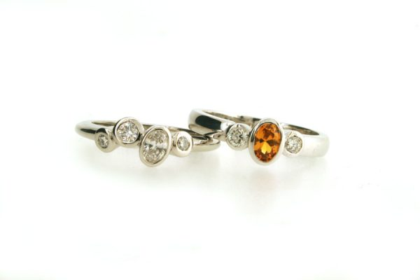 Mixed Diamond Platinum & Yellow Sapphire 18ct White Gold Rings : Robert Feather Jewellery
