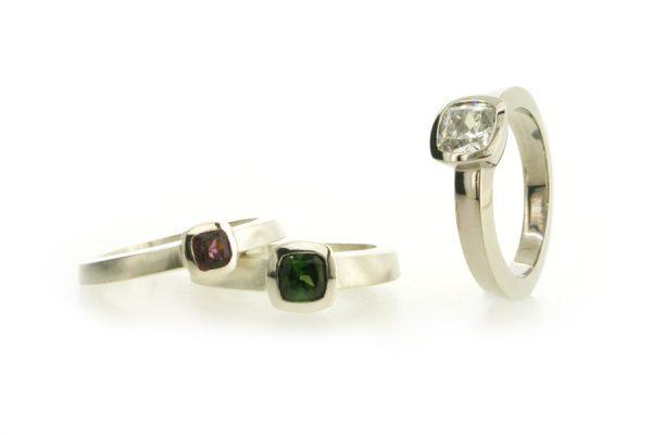 Cushion Cut Diamond Platinum & Silver Cushion Stone Rings by Robert Feather Jewellery