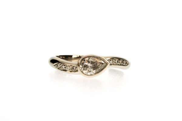 Pear Cut Diamond Platinum Ring with Diamond Set Shoulders by Robert Feather Jewellery