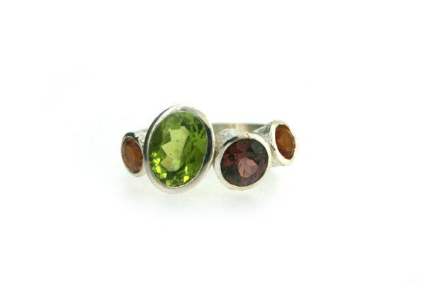 Peridot, Garnet & Citrine Quirky Design Silver Ring : Robert Feather Jewellery