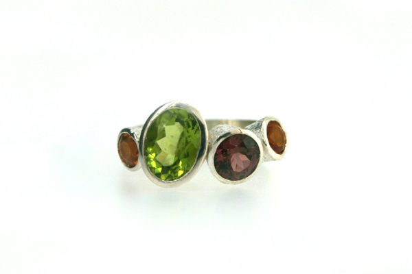 Peridot, Garnet & Citrine Quirky Design Silver Ring : Robert Feather Jewellery
