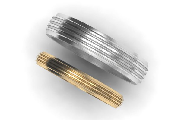Groove Patterned Platinum & Gold Wedding Ring Designs by Robert Feather Jewellery