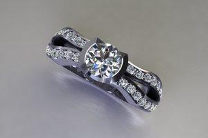 Round Brilliant Cut Diamond Platinum Ring Design with Diamond Set Shoulders by Robert Feather Jewellery