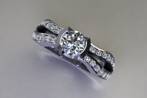 Round Brilliant Cut Diamond Platinum Ring Design with Diamond Set Shoulders by Robert Feather Jewellery