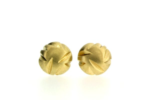Notch Pattern 18ct Yellow Gold Round Ear Studs by Robert Feather Jewellery