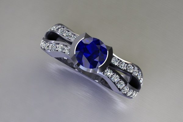 Round Sapphire Platinum Ring Design with Diamond Set Shoulders by Robert Feather Jewellery