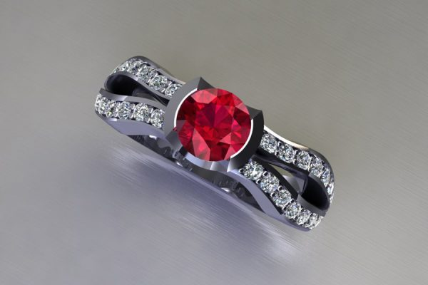 Round Ruby Platinum Ring Design with Diamond Set Shoulders by Robert Feather Jewellery