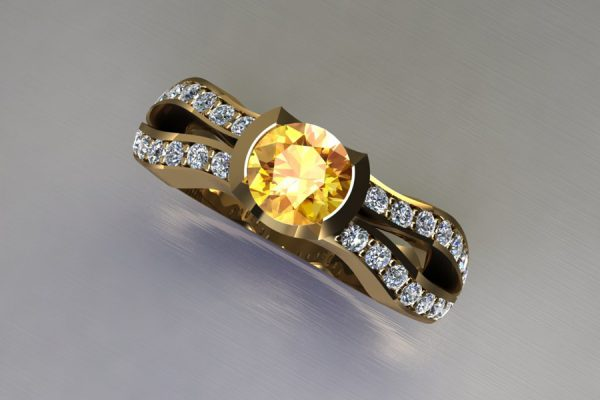 Round Yellow Sapphire 18ct Yellow Gold Ring Design with Diamond Set Shoulders by Robert Feather Jewellery