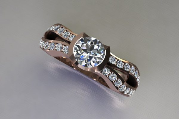 Round Brilliant Cut Diamond 18ct Red Gold Ring Design with Diamond Set Shoulders by Robert Feather Jewellery