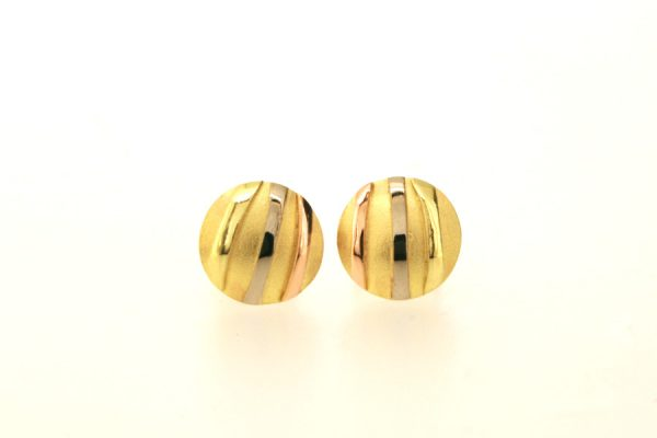 Striped Design 18ct Yellow Gold Round Ear Studs by Robert Feather Jewellery