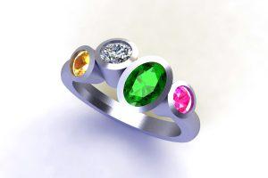 Four Mixed Stone Tsavorite, Diamond & Sapphire 18ct Gold Ring Design by Robert Feather Jewellery