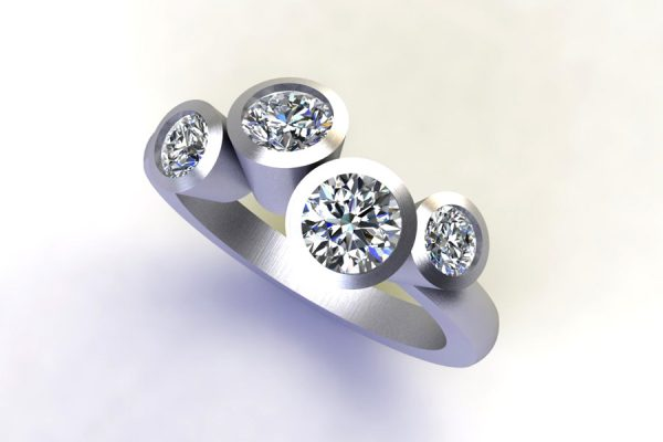 Four Stone Round Brilliant Cut Diamond Platinum Ring Design by Robert Feather Jewellery