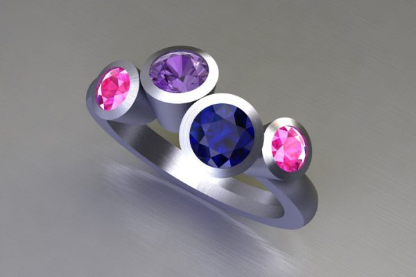 Four Stone Blue Purple & Pink Sapphire Platinum Ring Design by Robert Feather Jewellery
