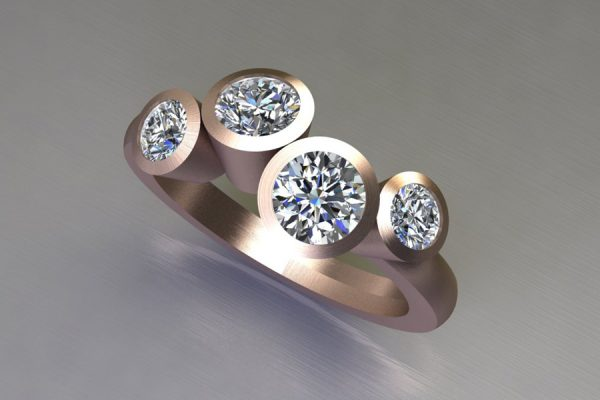 Four Stone Round Brilliant Cut Diamond 18ct Red Gold Ring Design by Robert Feather Jewellery