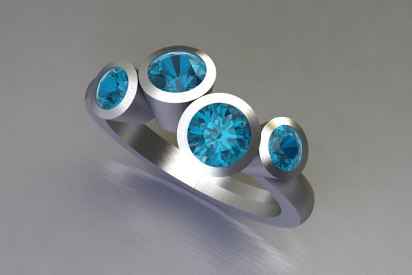 Four Stone Blue Topaz Silver Ring Design by Robert Feather Jewellery