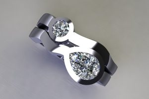 Pear Cut Diamond & Round Brilliant Cut Diamond Platinum Ring Design by Robert Feather Jewellery