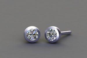 Round Brilliant Cut Diamond Platinum Ear Stud Design by Robert Feather Jewellery