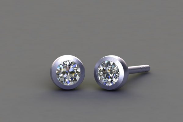 Round Brilliant Cut Diamond Platinum Ear Stud Design by Robert Feather Jewellery
