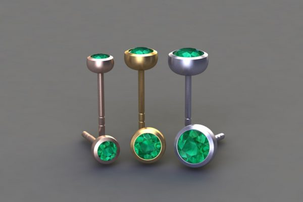Emerald, Red, Yellow & White Gold Ear Stud Designs by Robert Feather Jewellery