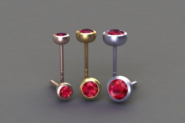 Ruby, Red, Yellow & White Gold Ear Stud Designs by Robert Feather Jewellery